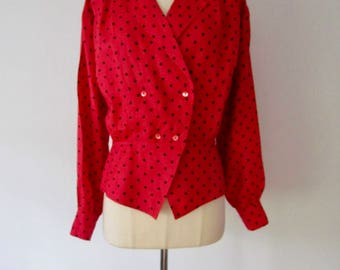 Vintage Max Mara Italy Red w Black Polka Dot Print Linen Blouse Top Size Eur 40 US 6