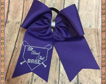 """Cheer Bow """"All About That Base"""", Purple And Silver Glitter Vinyl, Pony O Or French Barrette, Ready To Ship"""