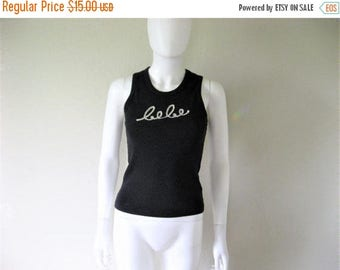 25% off SALE BEBE Sequined Ribbed Black Tank Top