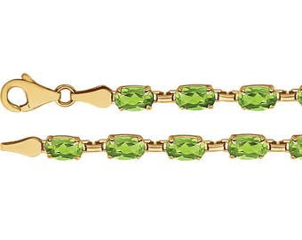 "14K Yellow Peridot 7.25"" Bracelet August Birthstone Birthday gift"