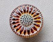 CZECH GLASS BUTTON: 22mm Handpainted Czech Glass Sunflower Button, Pendant, Cabochon (1)