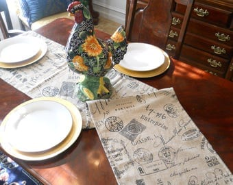 Reserved-Script Table Runner, Paris Market, French Stamp Table Cloth, 14''x60'' Script Bed Runner, Buffet/Dresser Scarf, Dining/Banquet