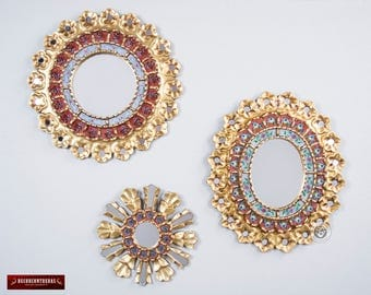 Round & Oval Wall Mirrors Set 3  'Red Celebration' - Mirrors Wall Decor Set- Mirror wall Vanity - Round Mirror - Peruvian Decorative Mirror