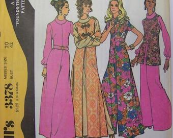 HTF UNCUT Vintage 1970s McCall's 3378 JUMPSUIT & Vest Pattern size 20  Bust 42