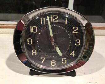 Vintage Mid-Century Black with Silver Rim Westclox Big Ben Alarm Clock with Glow in the Dark Hands, Working Condition