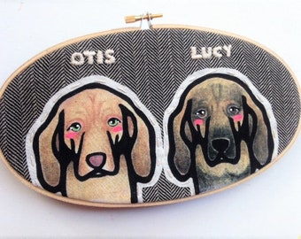 Custom Dog Portrait - Custom Portraits - Pet Portrait - Embroidery Hoop Art - Pet Lovers - Gift for Pet Lovers