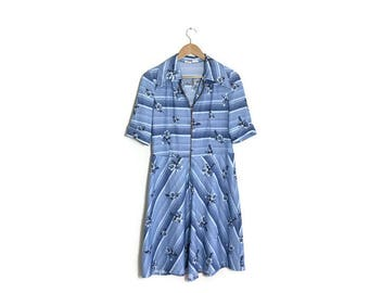 70s blue vintage dress / retro cornflower blue mid length dress / zip up front dress / A line midi dress / 70s day dress / boho blue dress