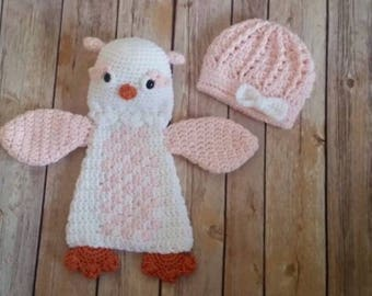 Crochet newborn hat. Crochet owl.