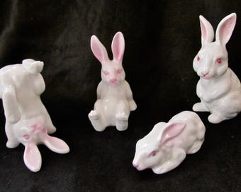 Tumbling Rabbits - Set of Four (4) - Bone China