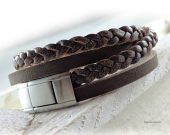 Men's braided leather bracelet brown silver stainless steel mens jewelry - gift for husband best friend father brother boyfriend dad