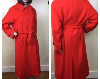 80s Coat, 1980s Designer    BILL BLASS , Red Winter Coat, Red wool Bill Blass