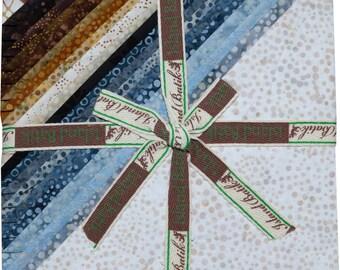 """Island Batik Dotalicious Earth Brown Cream Grey Batiks Stacks 42 10"""" Squares of Batik Fabric"""