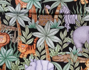 Jungle buddies allover jungle print on black