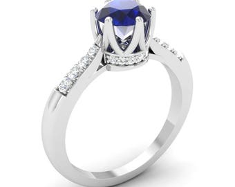 AAA Blue Sapphire Ring | Natural Blue Sapphire Engagement Ring With Diamond 14K Gold | 14K Gold Sapphire Ring | Natural Blue Sapphire Ring