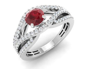 Natural AAA Ruby Ring   Round Ruby Engagement Ring With Diamond 14K Gold   Diamond Engagement Ring   Women Diamond Ring   Certified Ruby