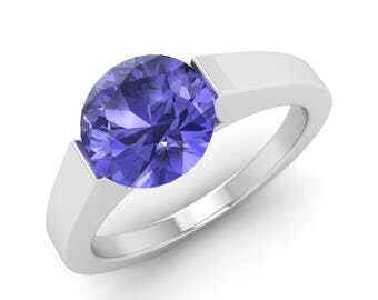 1.20 Carat Tanzanite Engagement Ring, 14K White Gold, Anniversary Ring, Wedding Ring, Natural Tanzanite Ring, Solitaire Engagement Ring