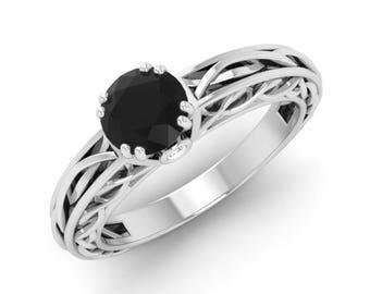 Black Diamond Engagement Ring, 14K White Gold, Vintage Ring Gold, Anniversary Ring, Wedding Ring, Black Diamond Ring, Christmas Gift Ring