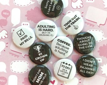 ADULTING flair buttons pin badge crafting planner scrapbooking sassy set of 10