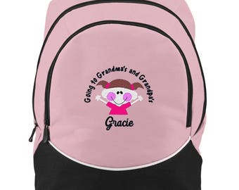 FREE SHIPPING - Going to Grandma's Personalized Monogrammed Backpack Book Bag school tote  - NEW