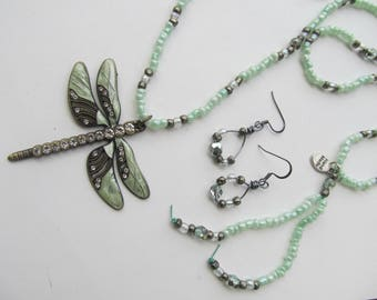 Dragonfly Pendant Necklace, Mint Green & Antique Silver Glass Beads, Long Length, Wire Earrings