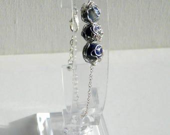 Bracelet blue lapis lazuli and silver. Free shipping.