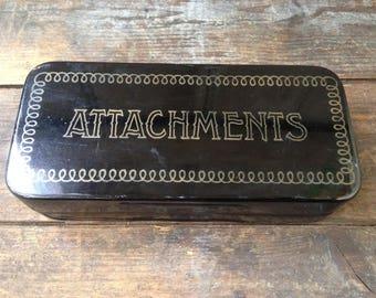 Antique Greist sewing machine attachments / vintage tin box / vintage sewing supplies