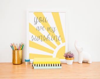 Nursery Art, You are my sunshine, Sunshine nursery art, Nursery Art