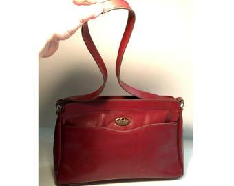 """1970s Aigner Leather Shoulder Bag Purse, Vintage Etienne Aigner Burgundy Handbag, Brass Hardware, Signature Color, Inside Pocket, 14"""" Drop"""