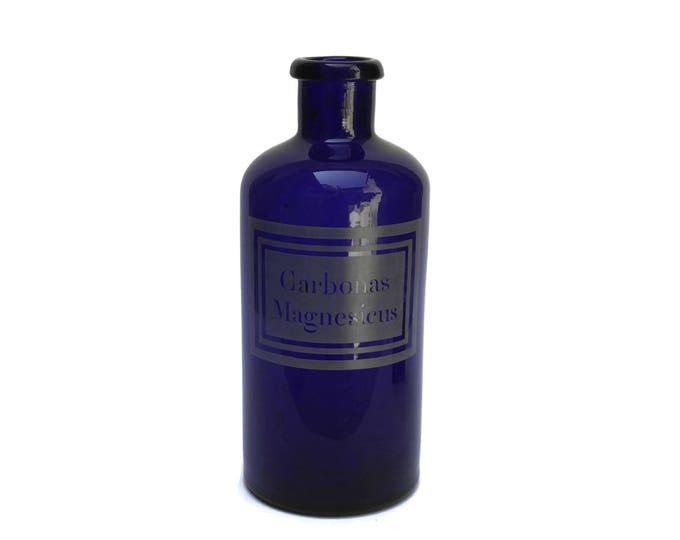 Antique Cobalt Blue Glass Apothecary Jar.