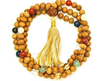Planetary Sandalwood Mala, 108 bead mala necklace, jyotish astrology mala
