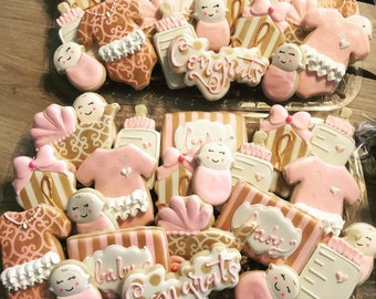 Pink and gold baby shower tray