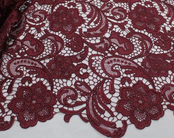 Venice Embroidered BURGUNDY Lace Fabric for Wedding Lace Bridal Elegant Dress French Guipure Lace by the yard- 1 Yard Style 5001