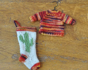 Sunset Colors Variegated Hand-Knit Sweater and Cactus Stocking Ornament Set