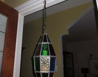 Vintage 60's Stain Glass Pendant Light , Ceiling Light , Porch light, Hall light
