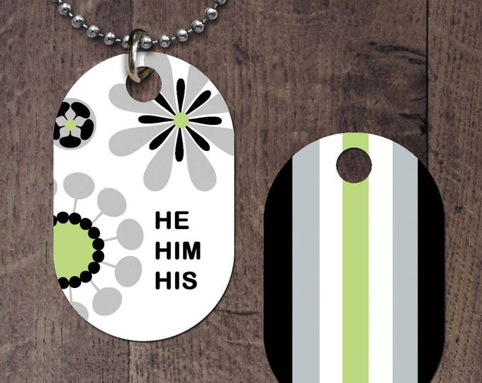 Agender Flag Pronouns (double sided) Dog Tag