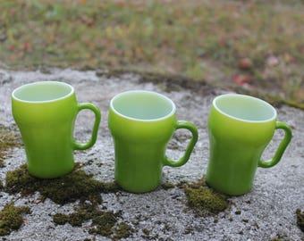 Vintage Lime Green Fire King Mugs Set of Three (3) Coke Glass Shaped Retro Green Vintage Green Electric Green