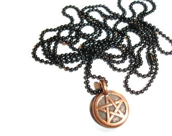 Pentagram Necklace Pagan Necklace Wiccan Necklace Copper Pentacle Necklace Copper Pentagram necklace Pagan Pendants Small pentacle necklace