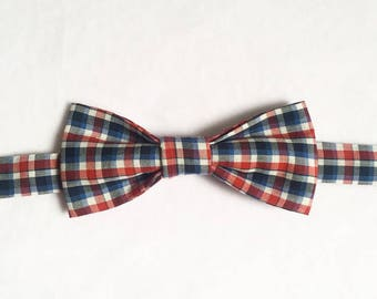 Bow tie Plaid red and blue