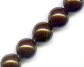 10 x 8 mm chocolate Pearly round glass beads