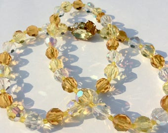 Vintage Necklace Crystal Jewelry 1950s Womens Vintage, Gold Tone Jeweled Clasp Princess Length Amber Glass Beads