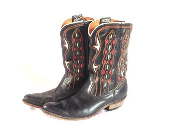 1950's Acme Women's Inlaid Leather Western Boots 7 1/2 C