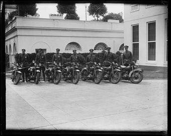 Police motorcycles outside White House, Washington, D.C., 1930