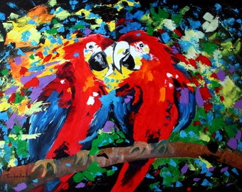 Aceo card  - Parrot  -  Aceo Art Print from Original  Painting by Tetiana
