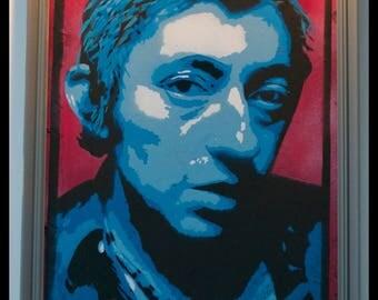 Portrait of Gainsbourg. Stencil under glass frame
