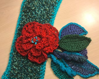 Crochet neck warmer, scarf, flower and leaves, jewel tones.
