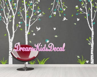 Wall decal nursery wall decals vinyl nature trees wall sticker wall decor mural - Flower tree Decal -set of 3- DK057