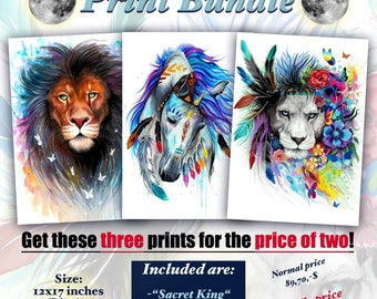 Buy two prints get three -Lion bundle-