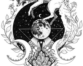 Moon child- signed Art Print