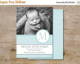 ON SALE Boy birth announcement template for photoshop - birth announcement template boy