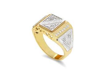 14k two tone solid gold men's diamond ring, diamond signet ring, men's pinkie ring